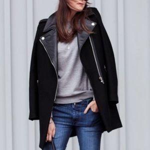 Zara Wool Blend Long Pea Coat Leather Collar